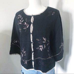 NWT Christopher & Banks embroidery 3/4 leaf design